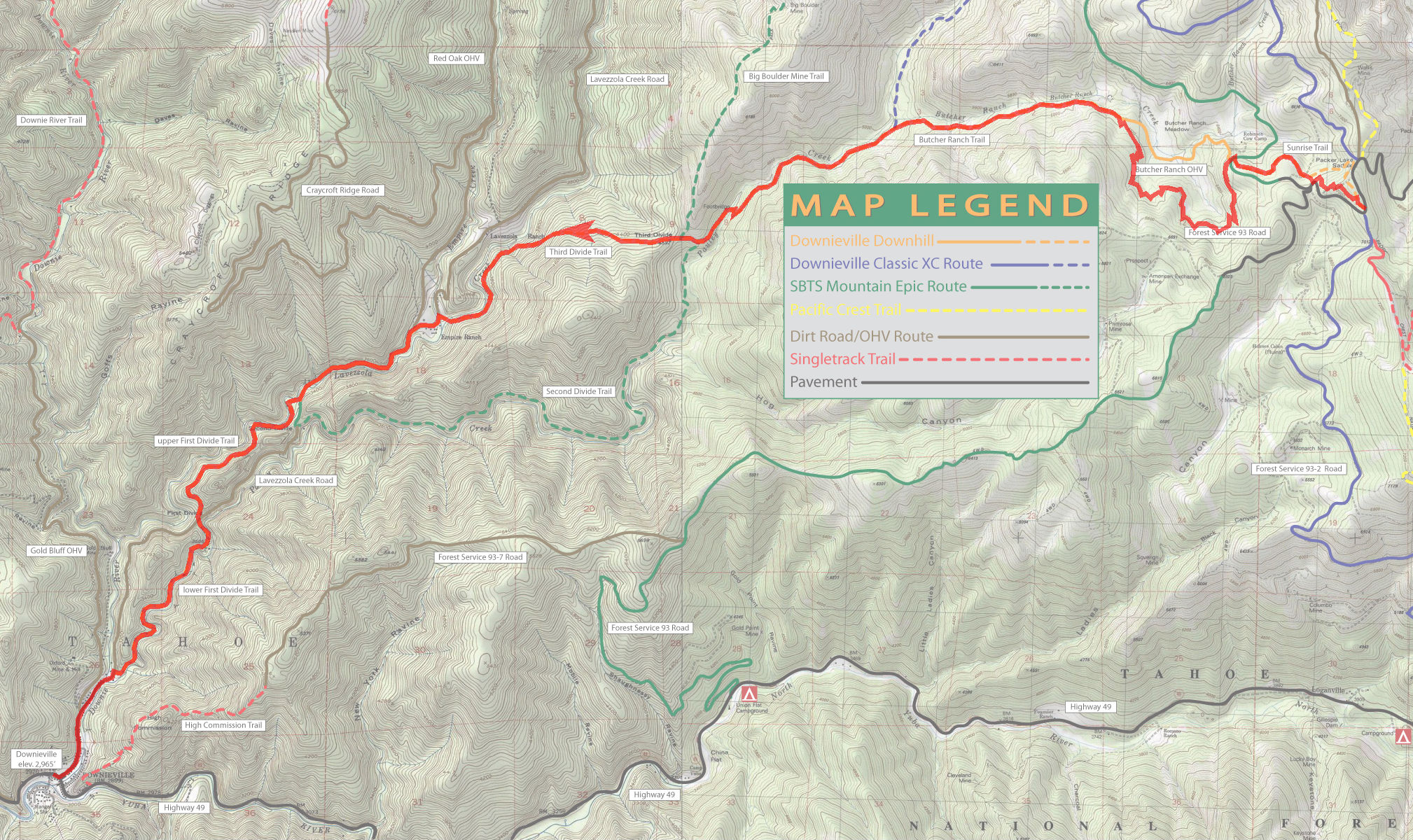 Downieville (Suggestion 1) - Bay Area Mountain Bike Rides on hole in the ground trail map, camp tamarancho trail map, annadel state park trail map, saratoga gap trail map, santiago oaks trail map, wilder ranch state park trail map, hurkey creek trail map, redwood regional park trail map, briones regional park trail map, usnwc trail map, devil's slide trail map,