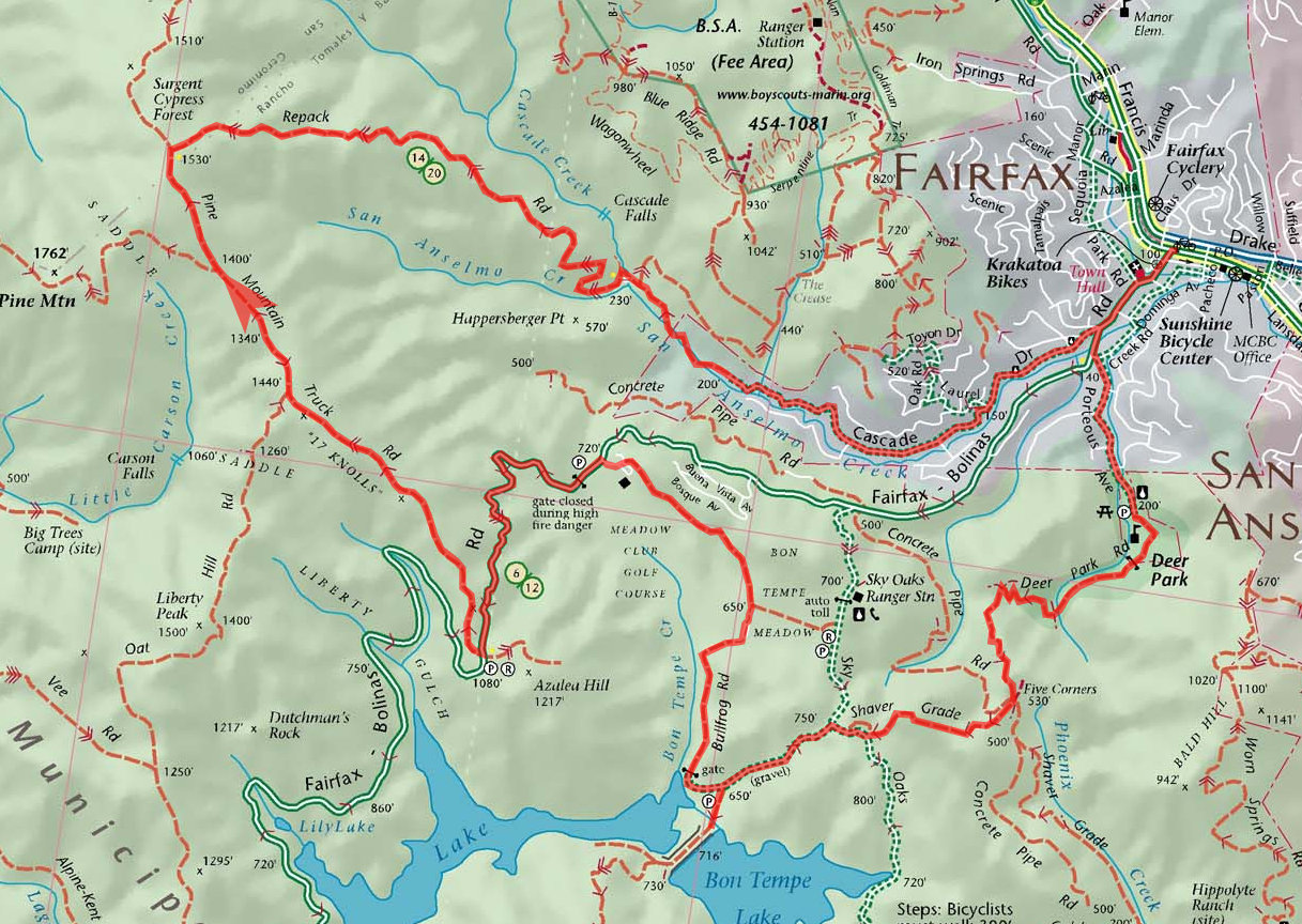 Repack Road (via Deer Park) - Bay Area Mountain Bike Rides on annadel map, lake tahoe map, cache slough map, cache creek map, grouse ridge map, sequatchie valley map, mendocino village map, skyline map, contra costa county ca map, north star village map, port moody map, central valley map,