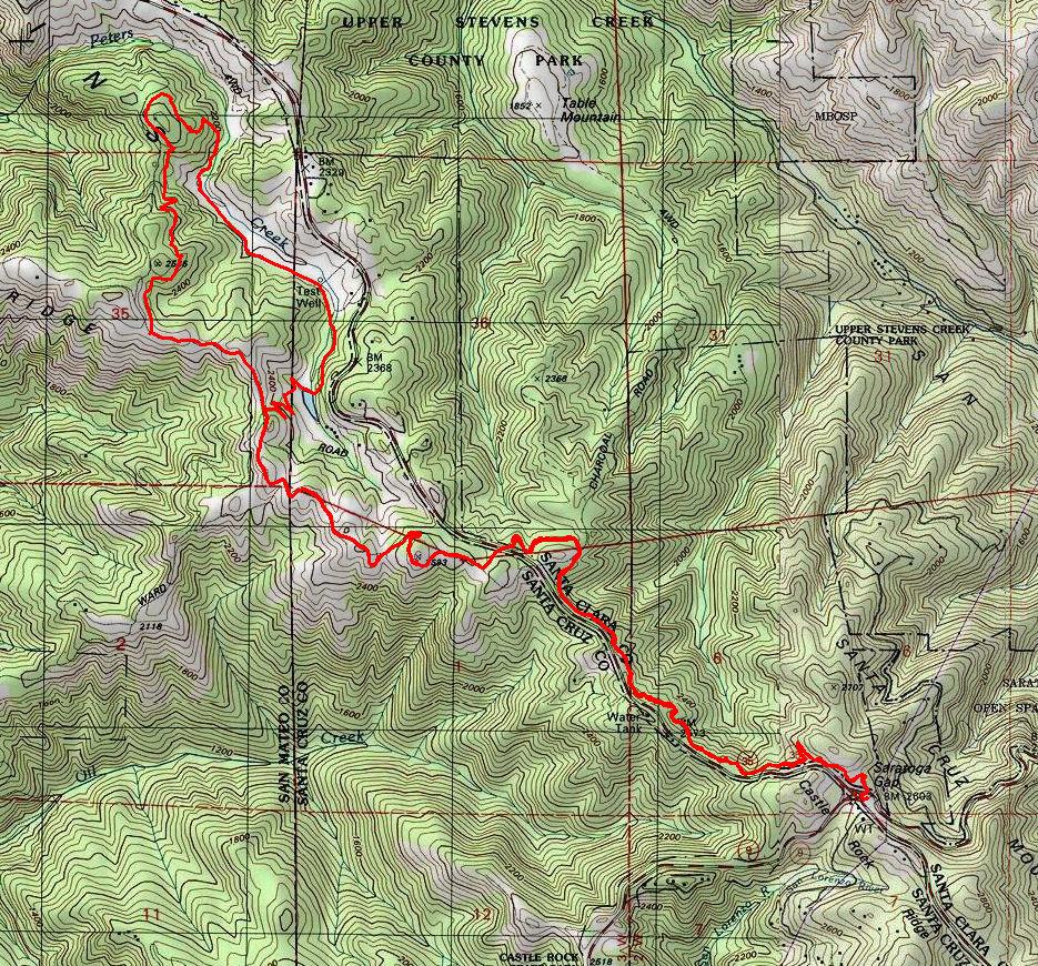 Santa Cruz Mountain Fire Map.Saratoga Gap And Long Ridge Bay Area Mountain Bike Rides